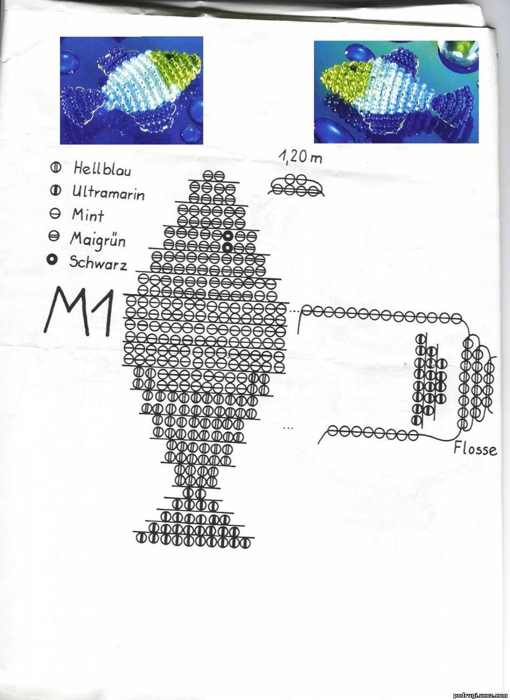 Сплести из бисера рыбку схема для начинающих